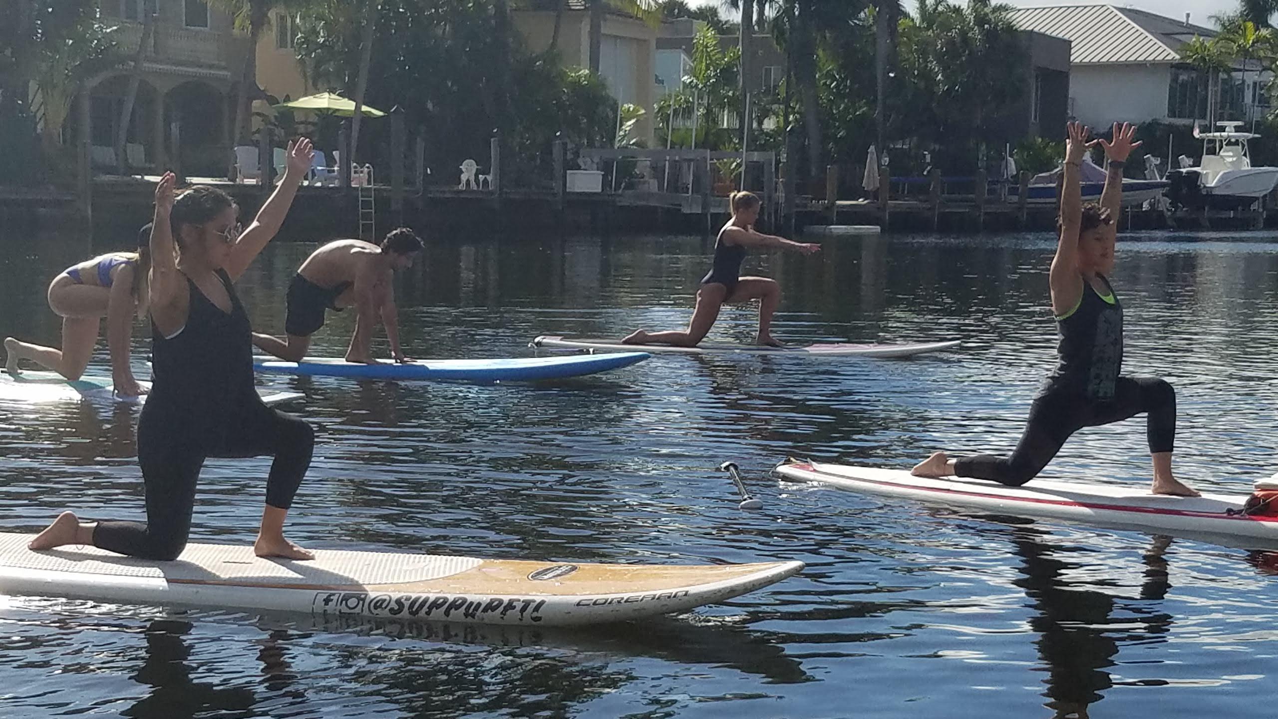 Paddleboarding Yoga on the river.