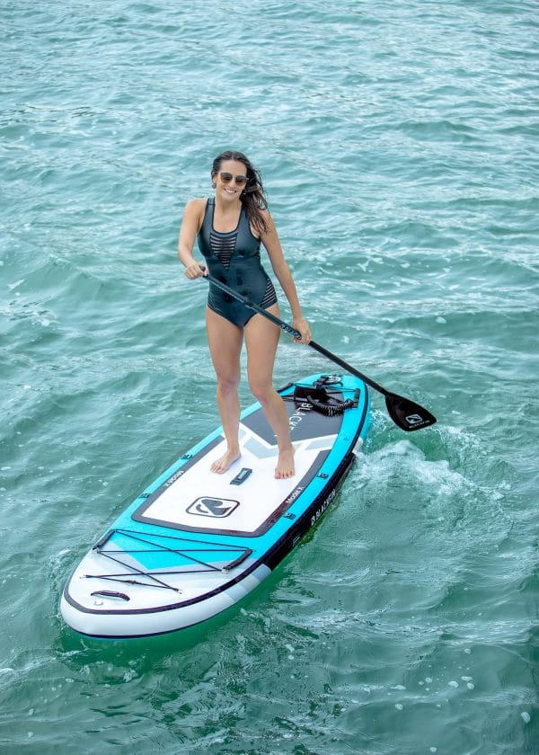 The Blackfin paddleboard in action on a ad picture.